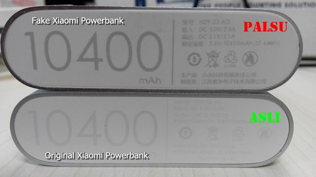 label power bank xiaomi asli dan palsu