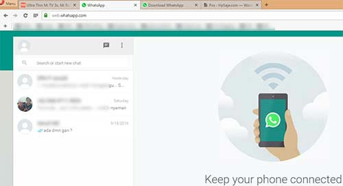 Tampilan whatsApp di browser PC