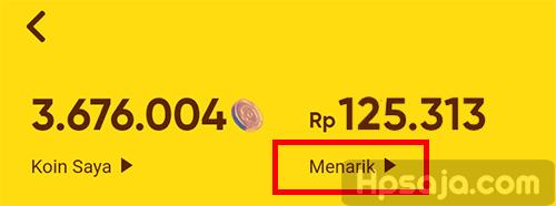 gambar 2 untuk melihat penukaran koin menjadi uang snack video